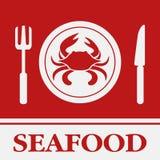 Ícone do caranguejo, da forquilha e da faca, Imagens de Stock Royalty Free