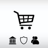 Ícone do carrinho de compras, ilustração do vetor Estilo liso do projeto Fotos de Stock Royalty Free