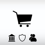 Ícone do carrinho de compras, ilustração do vetor Estilo liso do projeto Fotografia de Stock