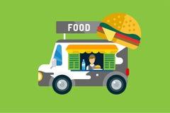 Ícone do carro do fast food Produto grelhado carne, cachorros quentes Fotografia de Stock