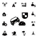 ícone do carro e do protetor da segurança Grupo detalhado de ícones do seguro Sinal superior do projeto gráfico da qualidade Um d ilustração royalty free