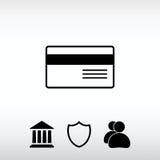 Ícone do cartão de crédito bancário, ilustração do vetor Estilo liso do projeto Imagens de Stock Royalty Free
