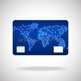 Ícone do cartão de crédito com mapa do mundo Fotografia de Stock