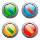 Ícone do cartão flash ajustado nos botões de vidro Imagens de Stock Royalty Free