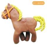 Ícone do cavalo do brinquedo do plasticine Fotos de Stock