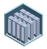 Ícone do centro de dados, sala do servidor Vector a ilustração na projeção isométrica, isolada no branco ilustração royalty free