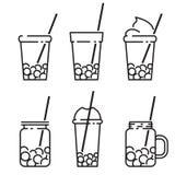 Ícone do chá da bolha ajustado na linha linha ilustração do vetor do estilo ilustração royalty free