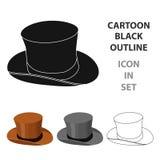 Ícone do chapéu alto no estilo dos desenhos animados isolado no fundo branco Ilustração do vetor do estoque do símbolo do país de Imagem de Stock