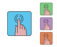 Ícone do clique do dedo da mão, vect liso simples colorido dos desenhos animados do esboço Fotos de Stock