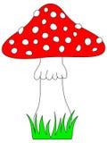 Ícone do cogumelo venenoso Cogumelos vermelhos dos desenhos animados com grama ilustração stock