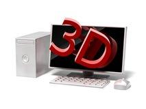 ícone do computador de secretária 3D no fundo branco Fotos de Stock