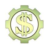 Ícone do conceito 3d do dinheiro com sinal da engrenagem e de dólar Ilustração do Vetor