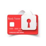 Ícone do conceito da proteção do cartão de crédito Fotos de Stock Royalty Free