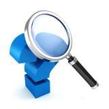 Ícone do conceito do FAQ com magnifier e ponto de interrogação Fotos de Stock