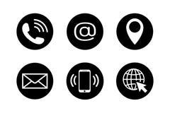 Ícone do contato ajustado no estilo liso Imagens de Stock