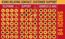 Ícone do contato e do apoio ajustado no vetor Imagens de Stock