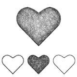 Ícone do coração ajustado - linha arte do esboço ilustração royalty free