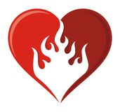 Ícone do coração da chama Imagens de Stock
