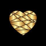 Ícone do coração do ouro Silhueta dourada do brilho, forma do sinal do metal isolada no fundo preto Ilustração do vetor Símbolo d Foto de Stock