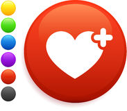 Ícone do coração na tecla redonda do Internet Fotos de Stock