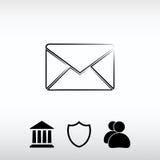 Ícone do correio do envelope, ilustração do vetor Estilo liso do projeto Imagens de Stock