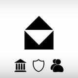 Ícone do correio, ilustração do vetor Estilo liso do projeto Foto de Stock