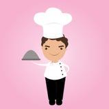 Ícone do cozinheiro chefe sobre a ilustração cor-de-rosa do fundo Fotos de Stock Royalty Free