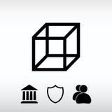 Ícone do cubo, ilustração do vetor Estilo liso do projeto Imagens de Stock