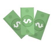 Ícone do dólar, projeto liso Dólares do dinheiro isolados no fundo branco Ilustração do vetor, clipart Fotografia de Stock