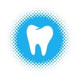 Ícone do dente na forma redonda de intervalo mínimo ilustração royalty free