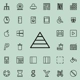 Ícone do diagrama da pirâmide Grupo detalhado de linha minimalistic ícones Projeto gráfico superior Um dos ícones da coleção para ilustração stock