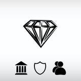 Ícone do diamante, ilustração do vetor Estilo liso do projeto Imagem de Stock Royalty Free