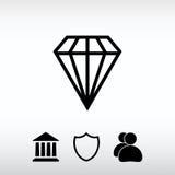Ícone do diamante, ilustração do vetor Estilo liso do projeto Foto de Stock