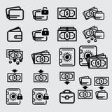 Ícone do dinheiro, dinheiro e cartão de crédito Fotografia de Stock