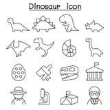 Ícone do dinossauro & da escavação na linha estilo fina ilustração stock
