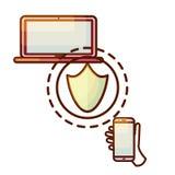 Ícone do dispositivo do laptop e do smartphone da conexão segura Fotos de Stock Royalty Free