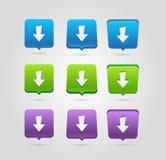 Ícone do Download Botão da transferência de arquivo pela rede Símbolo da carga Botões arredondados dos quadrados ilustração royalty free