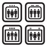 Ícone do elevador em quatro variações Imagens de Stock Royalty Free