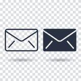 Ícone do email liso Ícone do email do esboço ilustração do vetor