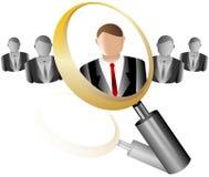 Ícone do empregado da busca para a lente de aumento da agência do recrutamento Imagens de Stock Royalty Free