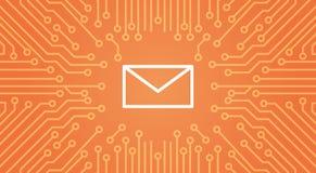Ícone do envelope da mensagem sobre o computador Chip Moterboard Background Banner Fotografia de Stock Royalty Free