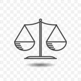 Ícone do equilíbrio da escala no fundo transparente projeto de conceito de justiça Fotos de Stock