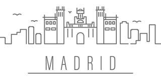 ?cone do esbo?o da cidade do Madri Elementos do ?cone da ilustra??o das cidades e dos pa?ses r ilustração royalty free