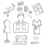 Ícone do esboço da profissão do alfaiate ou do desenhador de moda Fotografia de Stock Royalty Free