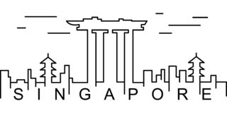 Ícone do esboço de Singapura Pode ser usado para a Web, logotipo, app móvel, UI, UX ilustração do vetor