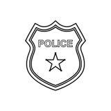 Ícone do esboço do crachá da polícia Ilustração linear do vetor Imagem de Stock