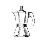 Ícone do esboço do potenciômetro do fabricante de café Imagens de Stock Royalty Free