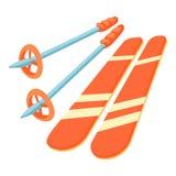 Ícone do esqui, estilo dos desenhos animados ilustração royalty free