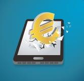 Ícone do Euro que quebra com o vetor do smartphone da tela ilustração royalty free