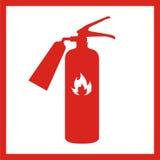 Ícone do extintor isolado no fundo Ilustração do vetor Fotografia de Stock